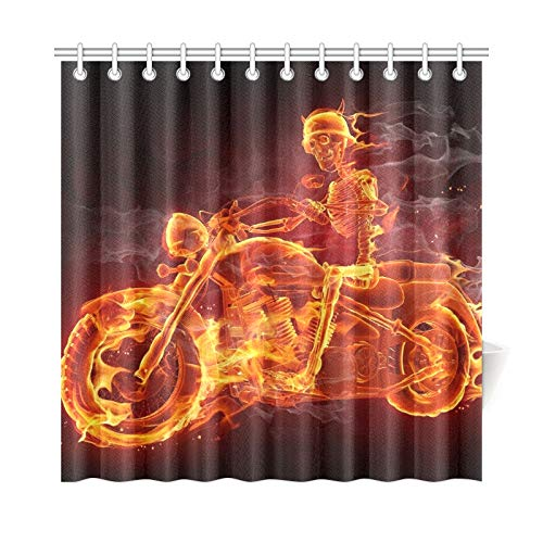 WJJSXKA Home Decor Bath Curtain Fire Skeleton Riding Motorcycle Polyester Fabric Waterproof Shower Curtain for Bathroom, 72 X 72 Inch Shower Curtains Hooks Included -