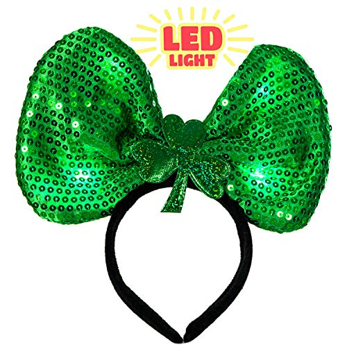 MISS FANTASY St. Patrick's Day Led Headband St Patricks Day Accessories Leprechaun Clover Headbands for Irish Themed Party Green Hairband for Women St Patty's Day Decorations Supplies]()