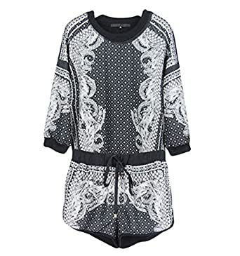 324f88920d CelebrityDesignz Top and Shorts 2 Piece Set Tracksuits Vintage Baroque Print  Drawstring Shorts -st1 (