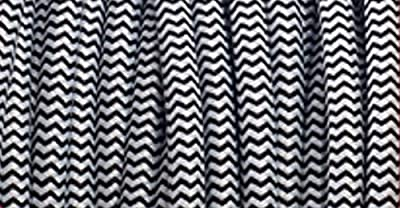 25' B&W Zig Zag Round Cord - Black and White, Cotton Cloth Covered, 18/2, UL Listed Cloth Cord
