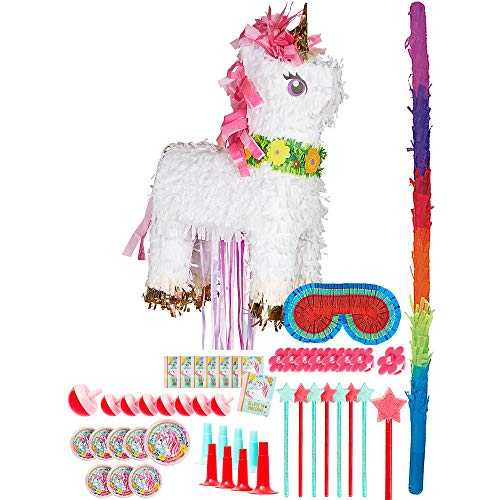 Party City Sparkling Unicorn Pinata Kit for Birthday Party, Includes Bat, Blindfold and 48pc Favor Pack -