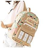 Canvas Backpack Laptop Bag Computer Bag College Bag Duffel Bag Travel Bag Hiking Bag Camping Bag Weekend Bag (Khaki) For Sale