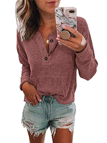 Womens Long Sleeve Waffle Knit Henley Tops Button Down Pullover Blouse Pocket ()