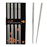: Rbenxia Metal Steel Chopstick Stainless Steel Spiral Chopsticks 8.8 Inches Long Lightweight Chopstick Set Reusable Classic Style for Kitchen Dinner 5 Pairs Silver