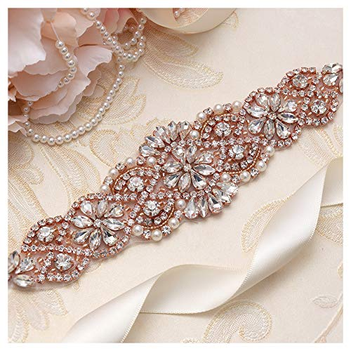 Sash Color Any (Yanstar Ivory Sash Crystal Applique Wedding Bridal Belts In Rose Gold With Pearls Beaded On Wedding Prom Dress-7.7In2In)