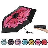Ke.movan Travel Compact Umbrella Windproof Mini Sun & Rain Umbrella Ultra Light Parasol - Fits Men & Women, Gift Choice(Pink Daisy)