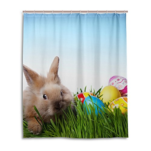 My Daily Bunny Rabbit Colorful Eggs Easter Shower Curtain 60