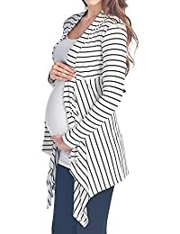 983210914443a Women's Maternity Open-Front Stripe Rib-Cardigan Made in USA