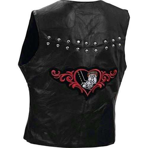 Diamond Plate Ladies Rock Design Genuine Lambskin Leather Vest- (Detail Lamb Leather)