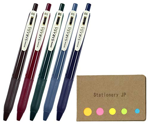 (Zebra Sarasa Clip 0.5 Retractable Gel Ink Pen, Rubber Grip, 0.5 mm, Vintage Colors, 5 Color Ink, Sticky Notes Value Set)