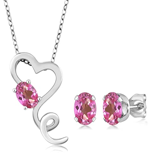 Fine Jewelry Pink Burma Ruby & White Cz Earrings 925 Silver Sterling Natural Heated 6 X 8mm Jewelry & Watches