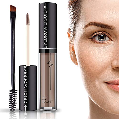 Waterproof Brow Gel- 24Hours Long Lasting Smudge-Proof Tinted Liquid Eyebrow Makeup Gels with Brush- Full, Natural Brows-Brown-4.5ml