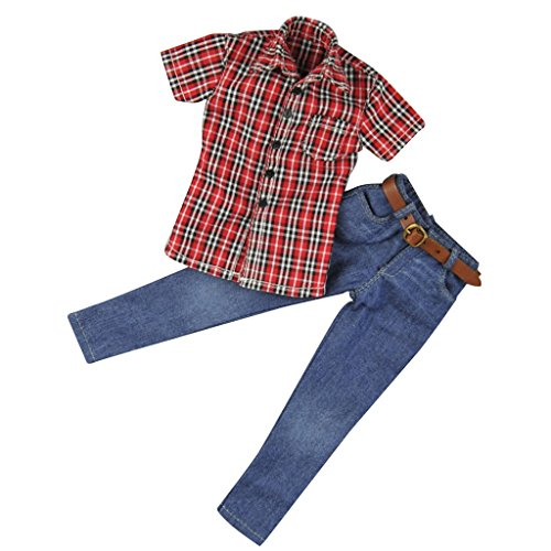 MagiDeal 1:6 Red Plaid Shirt & Jeans Set for 12'' Action Figure Hot Toys Sideshow Dragon 1 6th Scale Figures