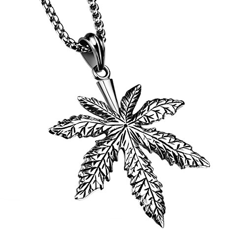 [D.B.MOOD Men's Stainless Steel Necklaces Marijuana Weed Leaf Pendant Necklace with 23.6 Inch Chain] (Weed Bag Costume)