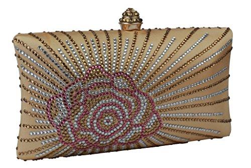 For Rose Flower Rhinestones New Golden Evening Wedding Women 6910 L Pattern Yilongsheng Bags xIw8gg