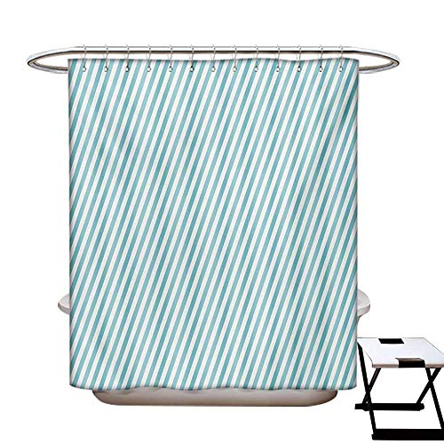 (Modern Shower Curtains 3D Digital Printing Soft Colored Skewed Bold Stripes Lines Contemporary Style Simplistic Design Custom Made Shower Curtain W48 x L72 Pale Blue White)