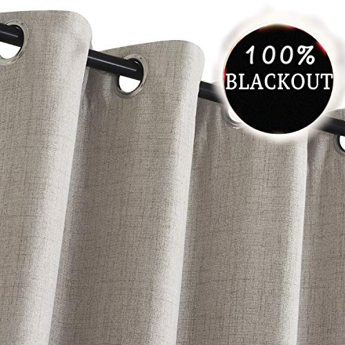 Primitive Linen Look,100% Blackout Curtains(with Liner)Linen Blackout Curtains& Blackout Thermal Insulated Liner,Grommet Curtains for Living Room/Bedroom,Burlap Curtains-Set of 2 Panels (50x84 -