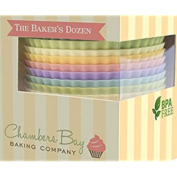 Chambers Bay Baking Company - 13 Reusable Silicone Baking Cups / Nonstick Cupcake Liners / Premium Muffin Molds - Stand Alone Cupcake Holders - No BPA - Gift Set - 6 Designer Colors - Standard Size
