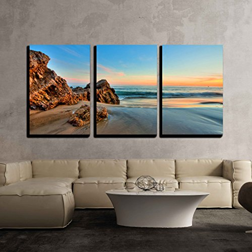 - wall26 - 3 Piece Canvas Wall Art - Sunset at California Beach - Modern Home Decor Stretched and Framed Ready to Hang - 24