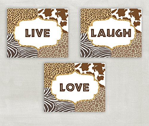 Love Cheetahs (Live Laugh Love Animal Print Cheetah Zebra Giraffe Wall Art Set of 3 5x7 or 8x10 Prints ((unframed)))