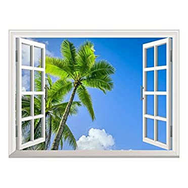 Palm trees on the tropical beach photo window wall sticker wall mural 41626529ww