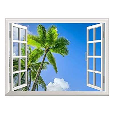 Majestic Piece of Art, Removable Wall Sticker Wall Mural Tropical Landscape of Two Palm Trees in The Blue Sunny Sky Creative Window View Wall Decor, Classic Artwork
