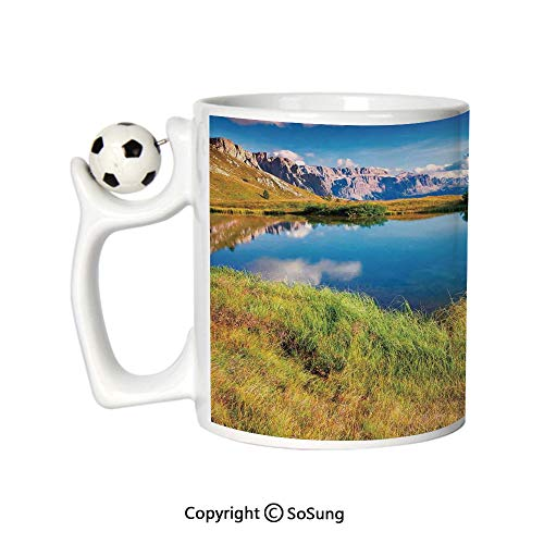 Lake House Decor Sports Football Mug,Summer Sunny Morning on the Sassolungo Langkofel and Sella Group Valley Gardena Ceramic Coffee Cup,Green Blue,Great Novelty Gift for Kids & Audlt