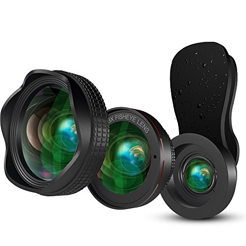 Universal Cellphone Camera Lens Kit - Luxsure Cellphone Lens 100° Wide Angle Lens + 15x Macro Lens + 0.28X Fisheye Lens Compatible with iPhone Xs/MAX/X/ 8 Plus/Android/Samsung and Most Smartphones