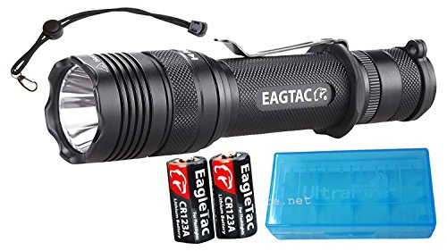 EagleTac Flashlight Bundle T200C2 Super Bright 1277 Lumens Cree XLamp XM-L2 LED with 2 x CR123A Batteries, Paracord Lanyard, TradingBuzz Battery Case