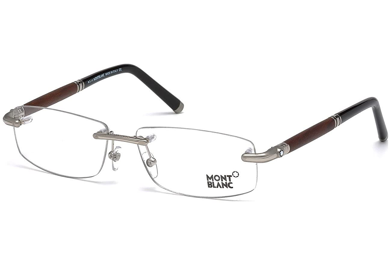 Eyeglasses Mont white MB 0491 016 Shiny Palladium Dark Brown Clear Lens