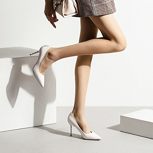 Tacón Color Blanco Sólido De Zapatos Blanco Negro Altura Cm 17262 PU 8 Trigo del Sunny Color Y07Rw8
