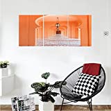 Liguo88 Custom canvas Arabian Decor Collection Moroccan Style Walkway with Islamic Motifs and Arabic Artsy Elements Visual Oriental Photo Bedroom Living Room Wall Hanging Orange
