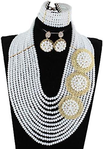 12 Rows Snow White 6mm African Beads Jewelry Set,Nigerian Wedding Beads Jewellery Sets