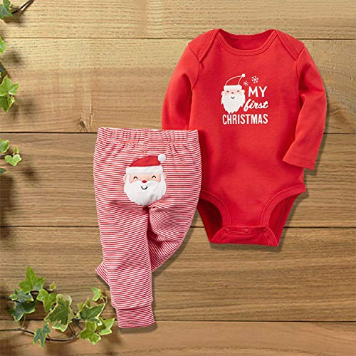 21fc9dc88a3 Unmega Christmas Baby Girl Boy Xmas Clothes My First Christmas Romper with Stripe  Pants Outfit