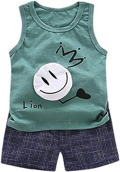 Conjunto Dos Piezas Niños Verano Camisetas y Pantalones Dibujos Animados Niños Sin Manga Blanco 1 a 5 años Set POLP Niño Bebé Tops y Pantalones Cortos