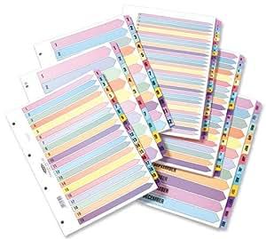 Concord ColourMix 17601/CS176 - Separadores con índice para carpeta de anillas, 4 orificios reforzados con tereftalato de polietileno, partes numeradas 1-31, tamaño A4, multicolor
