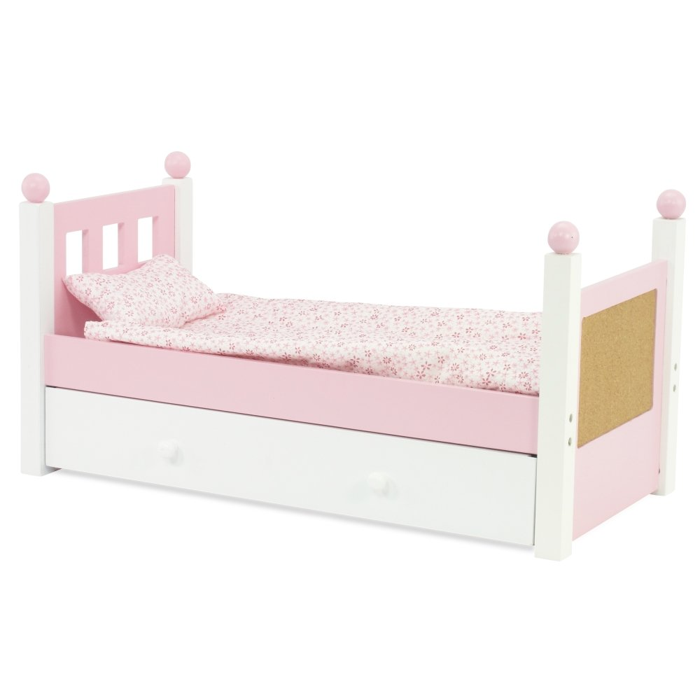 amazoncom 18 inch doll furniture lovely pink and white single trundle bed storage drawer includes thick plush bedding fits 18 american girl dolls - Beds For American Girl Dolls