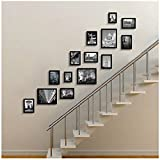 Photo frame wall European staircase photo wall solid wood corridor creative corridor combination photo frame wall Photo Wall ( Color : Black )
