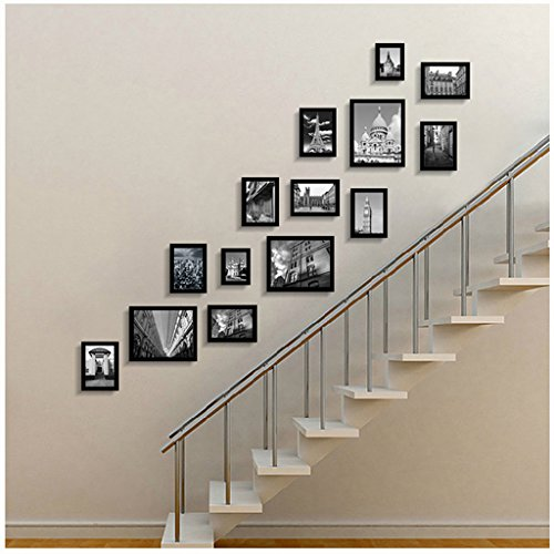 Photo frame wall European staircase photo wall solid wood corridor creative corridor combination photo frame wall Photo Wall ( Color : Black ) by Photo Frame Set