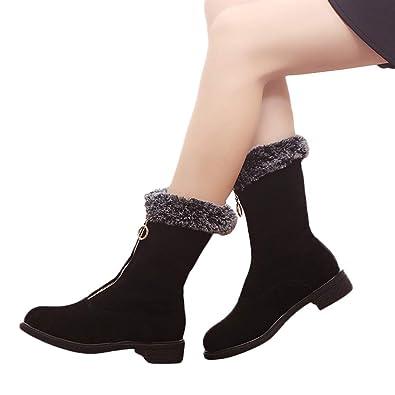Bhydry Schuhe Damen Winter Elegant Reissverschluss Flache Klassische