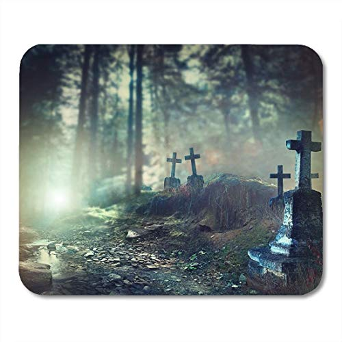 Yanteng Mouse Pads Mouse Pads Halloween Foggy Graveyard at Night Old Spooky Cemetery in Moonlight Through The Trees Mouse Pad Mats for Notebooks,Desktop Computers AccessoriesOffice Supplies