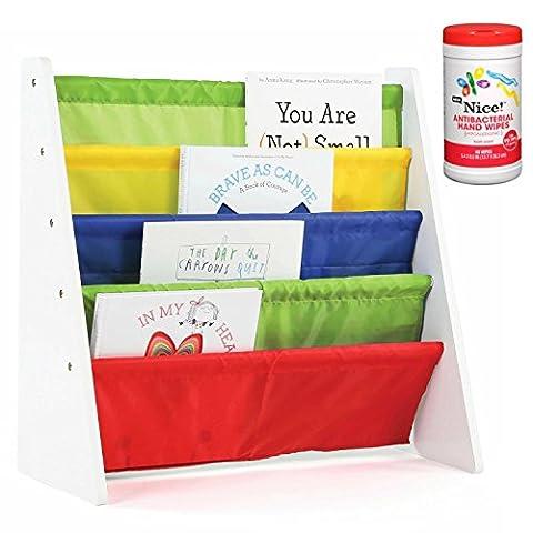 Tot Tutors Kids 4-Pocket Book Rack Organizer in White/Multicolor with Antibacterial Hand Wipes