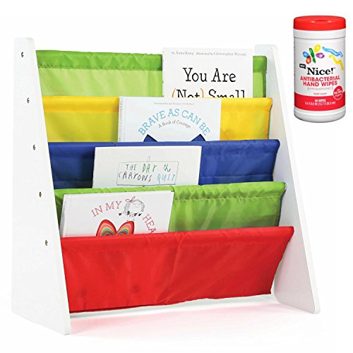 Tot Tutors Kids 4-Pocket Book Rack Organizer in White/Multicolor with Antibacterial Hand Wipes