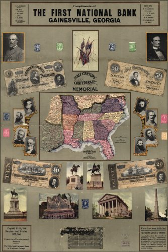 Poster Map Of Confederate States Of America 1861-65