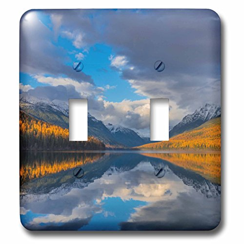 3dRose Danita Delimont - Lakes - Autumn colored mountains reflect into Bowman Lake, Glacier NP, Montana - Light Switch Covers - double toggle switch ()