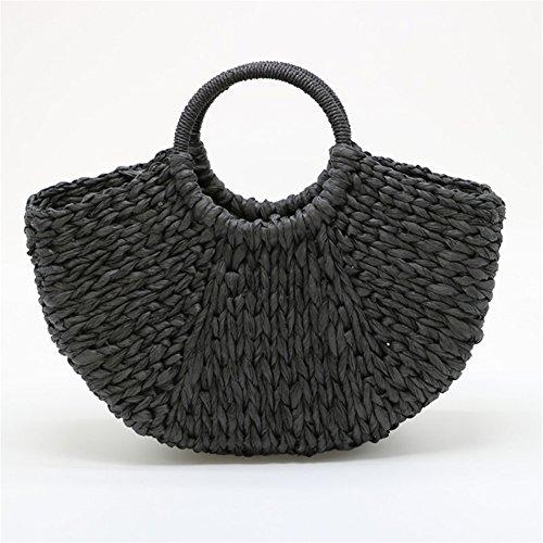 Shoulder Handbag Summer Beach Use Travel Bag Everyday Womens Bag black Anuan And Straw For xXYfTnwTq
