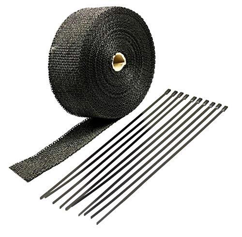 VViViD Black Fiberglass Heat Shield Exhaust Wrap Roll Including 10 Free Stainless Steel Locking Zip Ties (4