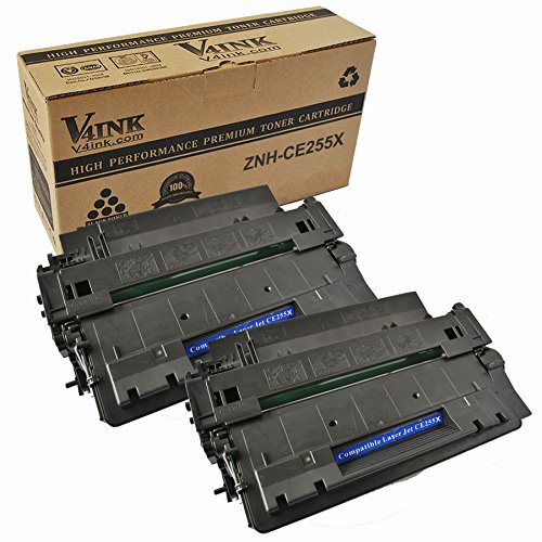2 pack V4INK ? CE255X (55X) New Compatible Toner Cartridge for LaserJet P3010 P3011 P3015 P3015d P3015dn P3015n P3015x, high yield of 12,500 pages.