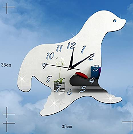 Amazon.com: CLG-FLY Creative Decorative Wall Clock Children Diy Quartz Clock Seal Mirror Walls With Clock,Silvery,Middle 35Cm×35Cm#Awith Best Service: Home ...