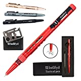 BellFyd Tactical EDC Pen With Glassbreaker - Extreme Self Defence Women Tool for Everyday Concealed Carry - Stainless Steel Metal Pen With Ballpoint Tip - Useful Gear Kit for Personal Protection - Red